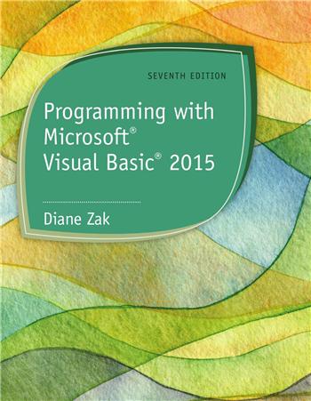 Programming with Microsoft Visual Basic 2015 7th Edition by Diane Zak