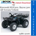 Kawasaki KLF300, Bayou 300 All Terrain Vehicle Service Repair Manual