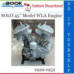 """SOLO 45"""" Model WLA Engine Overhaul Manual"""